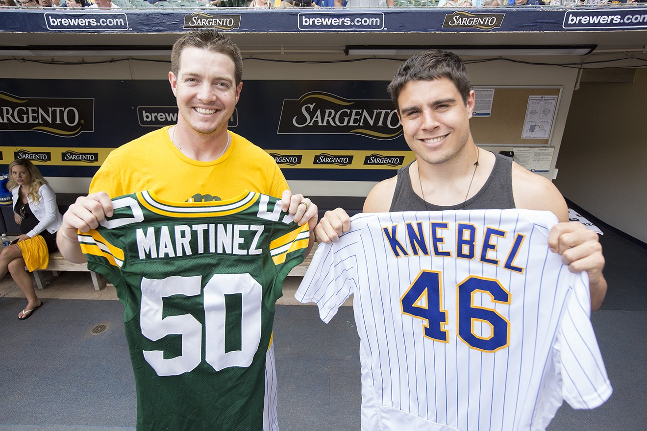 online store 2f2ff 56df8 Blake Martinez Visits Miller Park for Pack at the Park Night