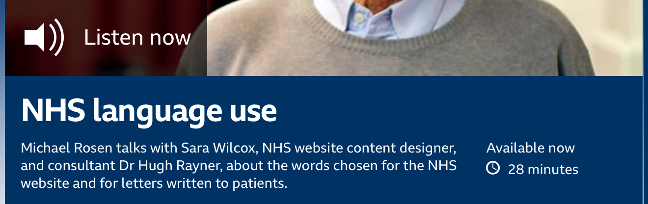 Listen to Word of Mouth; NHS Language use