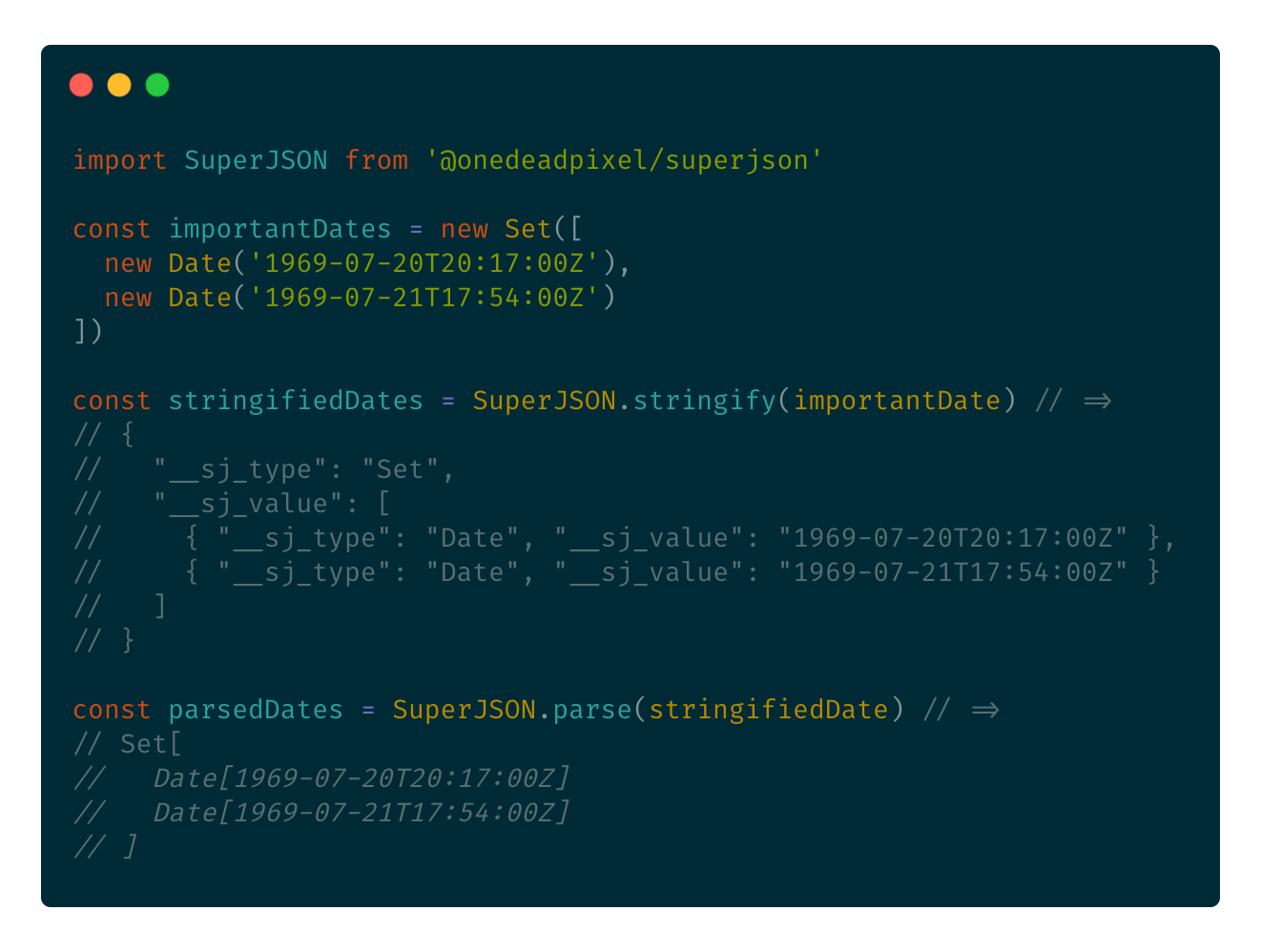 A code example of nesting dates in a set and using SuperJSON to encode and decode all data.