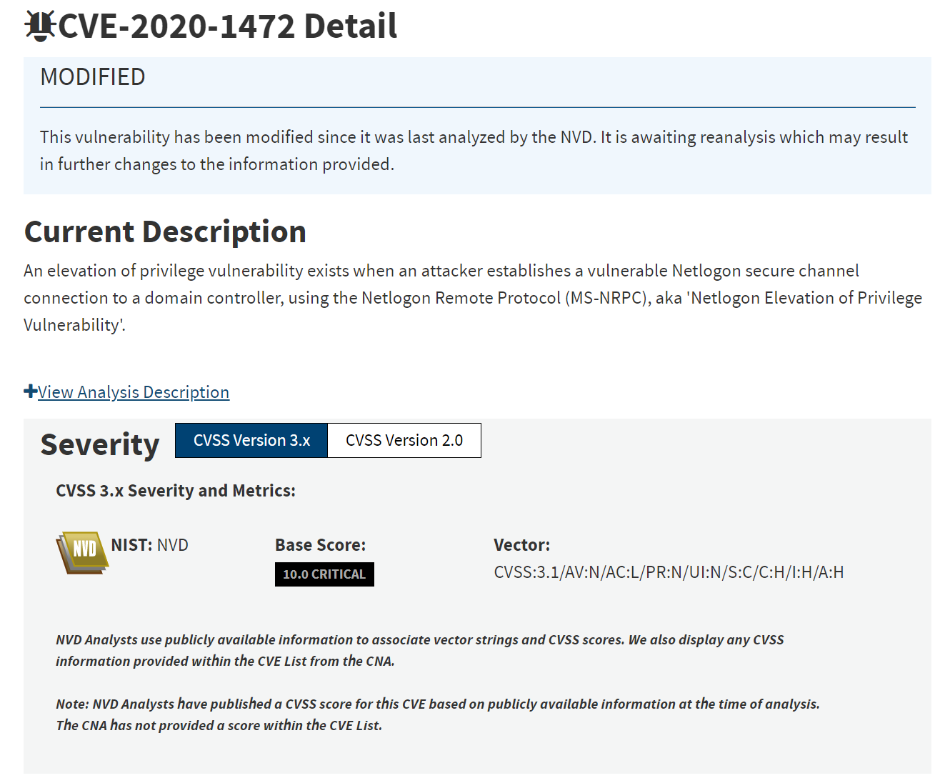 A screenshot of CVE-2020–1472 from the NIST NVD