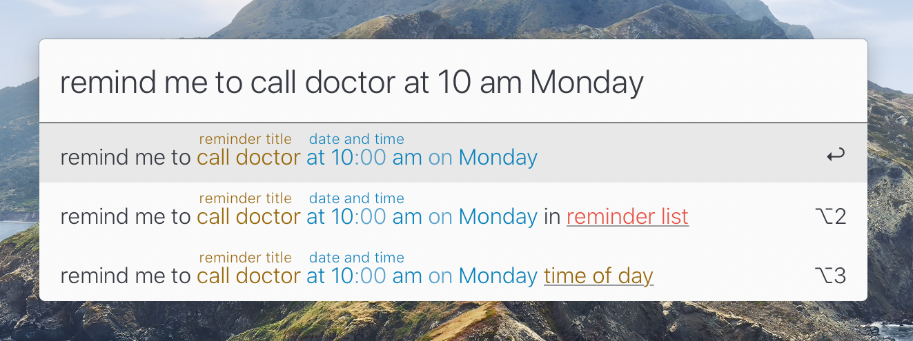 "Lacona field converting ""remind me to call the doctor at 10 am on Monday"" to a timed reminder"