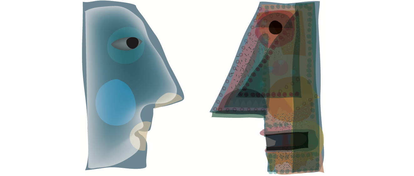Colorful, abstract faces in silhouette looking at one another. Artist: Jim Waddington