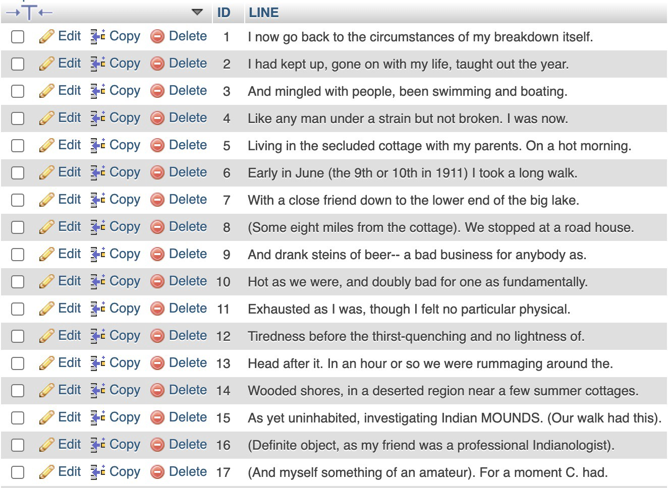 First 17 lines of project relational database table, featuring text from William Ellery Leonard's personal narrative.