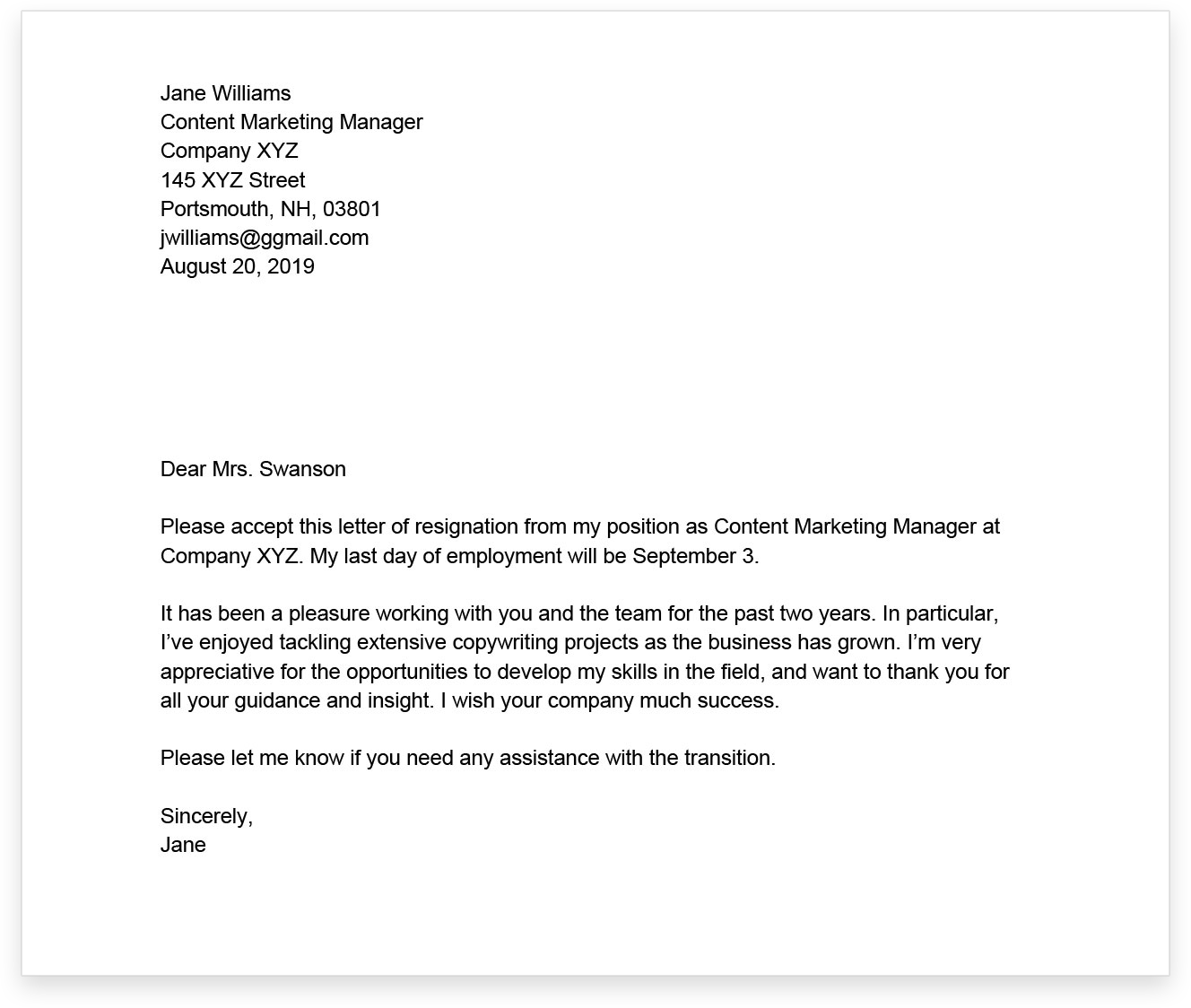 how to write a professional resignation letter with