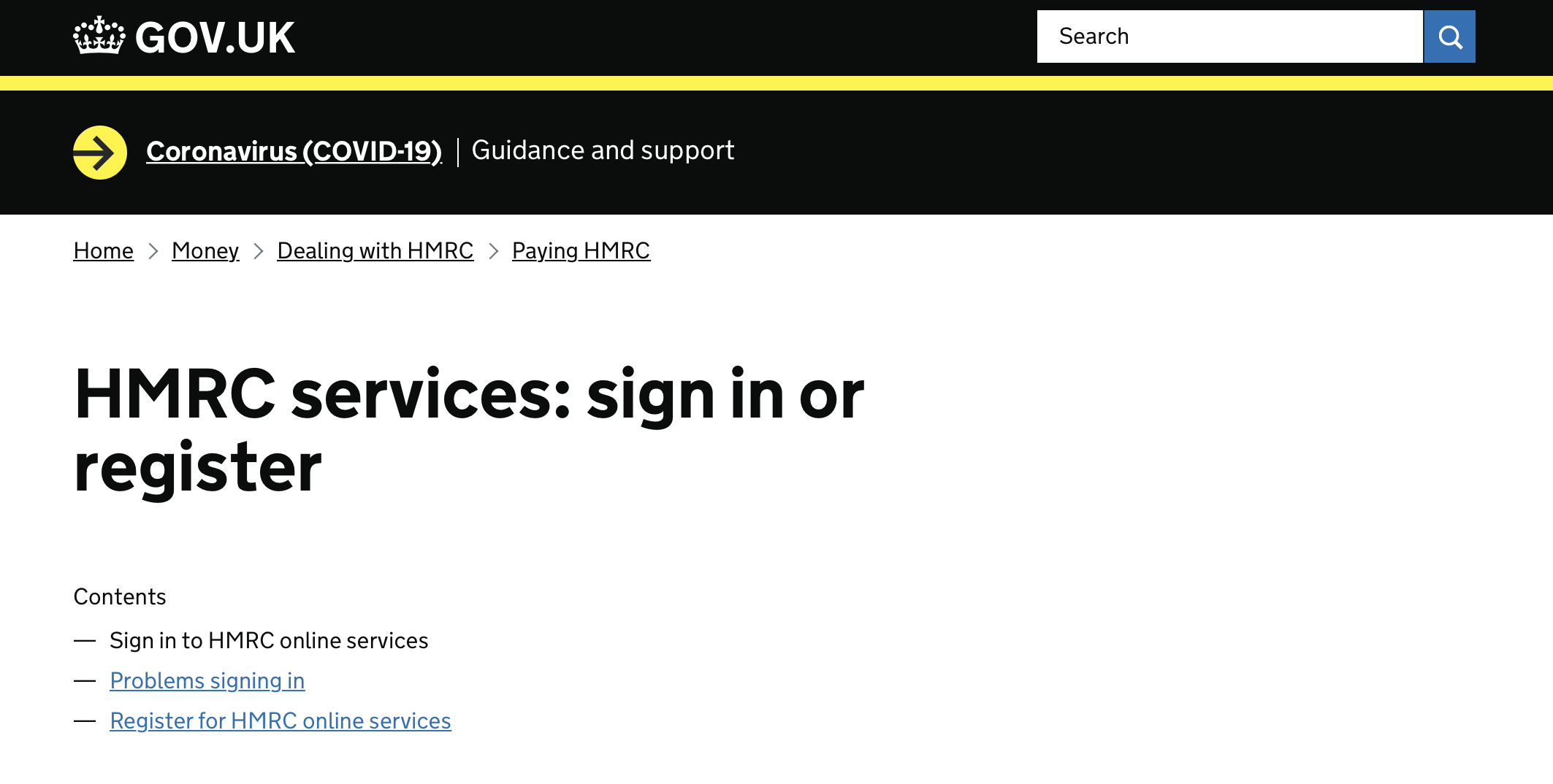 "UK government income tax website using ""sign in"" and ""register"""