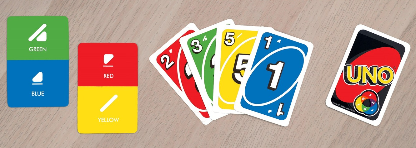 Photo from the Uno cards that use the Colorblind Alphabet to differentiate colors.