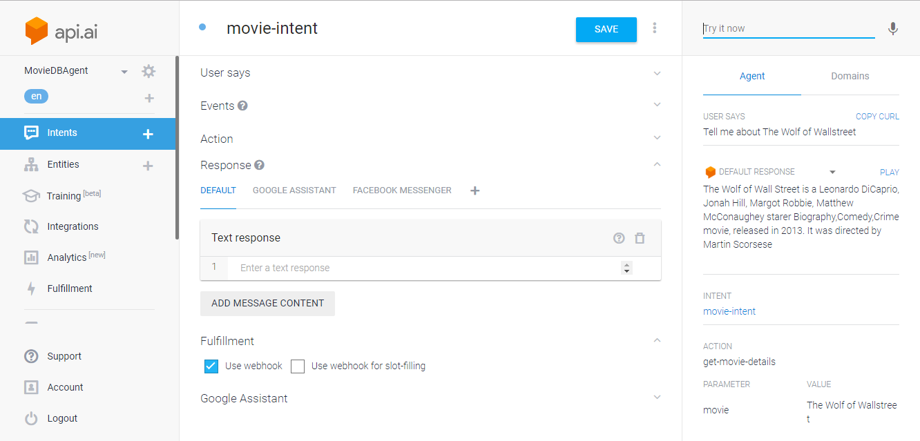 DialogFlow(formerly API AI): Let's create a Movie ChatBot in