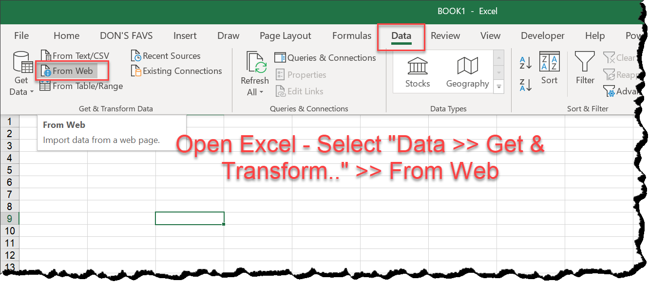 MS Excel — Connecting PowerQuery To An Excel File In The