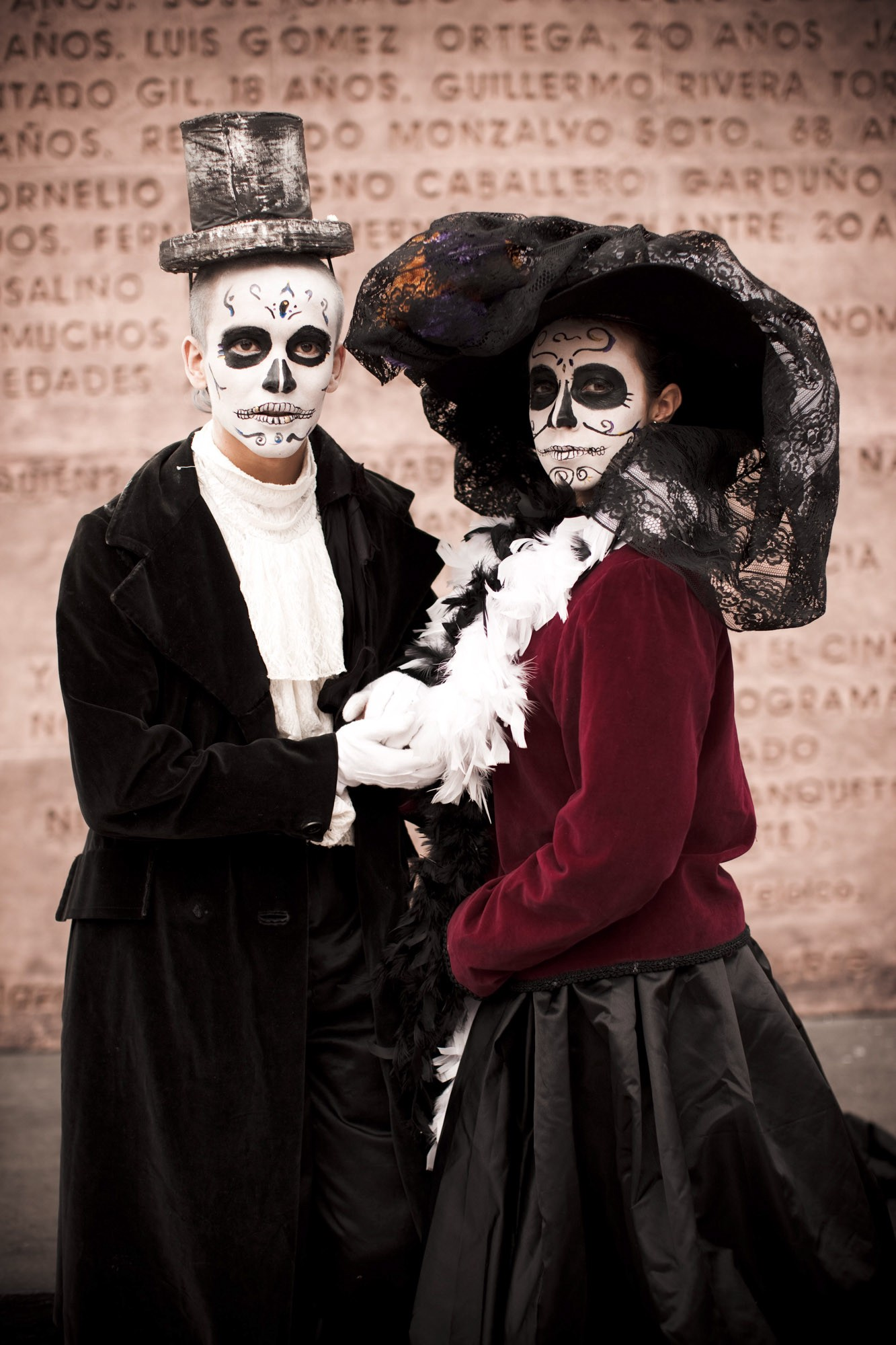 In the early twentieth century, Mexican cartoonist José Guadalupe Posada created a series of satiric zinc etchings depicting dandified calaveras (skeletons), including one wearing an extravagant bonnet. La Calavera Catrina and her consort are now an integral part of Day of the Dead festivities. ©James Fisher 2017 All Rights Reserved