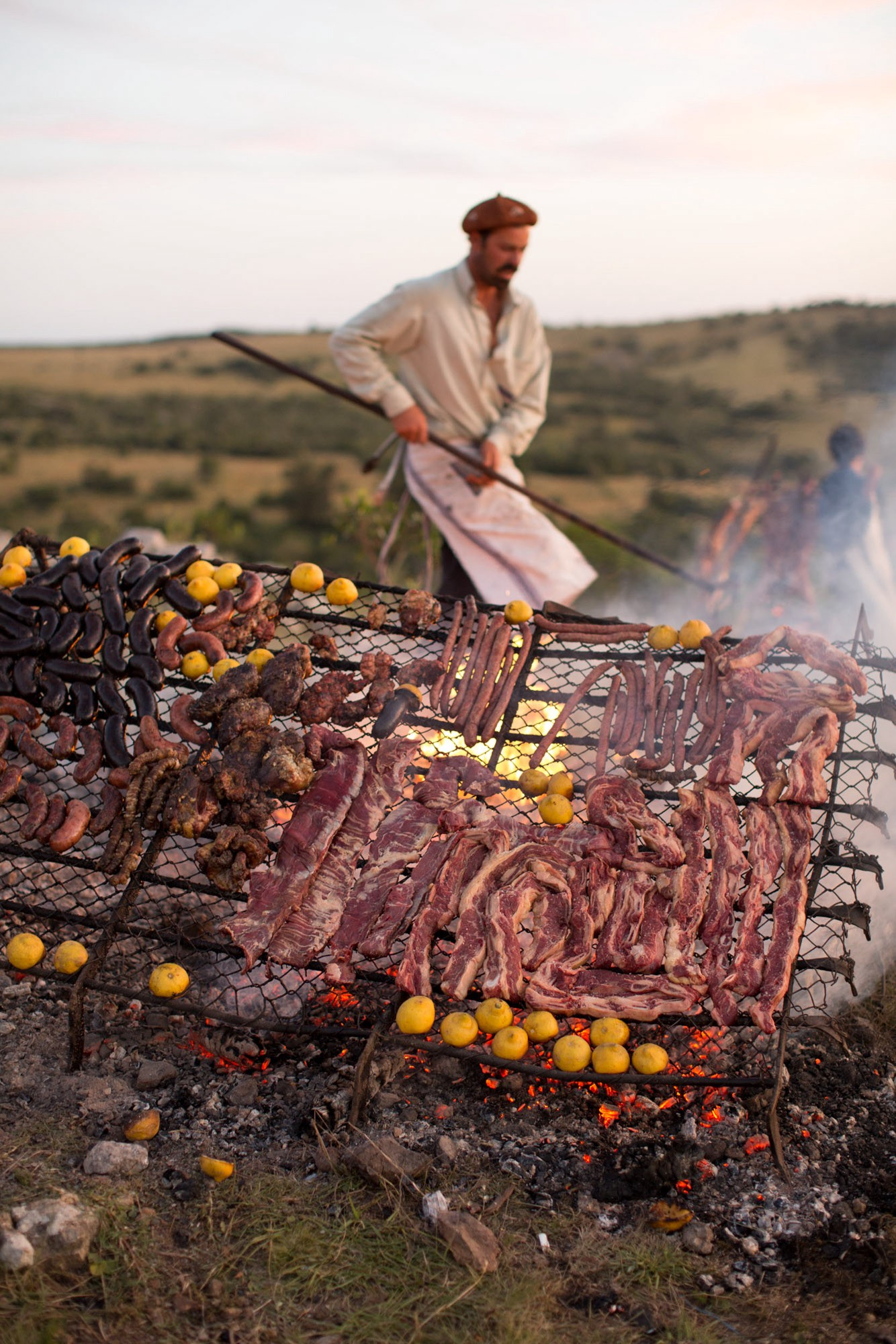 The typical gaucho diet consists of yerba maté and numerous cuts of meat, including blood sausage, chorizo, chitterlings, and asado de tira ribs. ©James Fisher 2017 All Rights Reserved