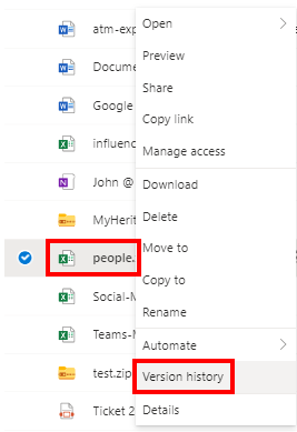 OneDrive version history button