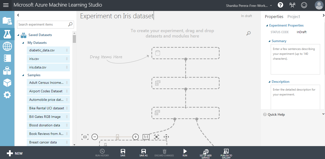 My first experience with Microsoft Azure Machine Learning Studio