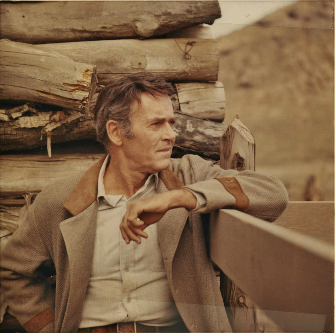 """Sixty-two-year-old Henry Fonda, as an alcoholic drifter and one-time prisoner, in the 1967 NBC western """"Stranger on the Run"""""""