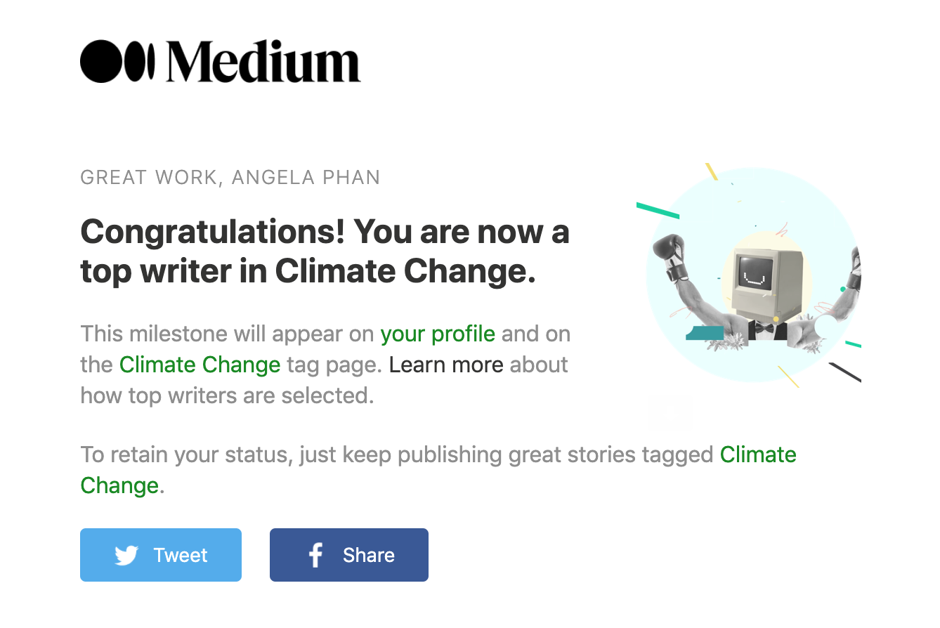 Email notifying me that I became a top writer in the Climate Change tag