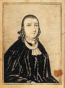 Portrait of the Public Universal Friend. They are wearing a male minister's robes from the time period and hair that is short in the front with long ringlets in the back.