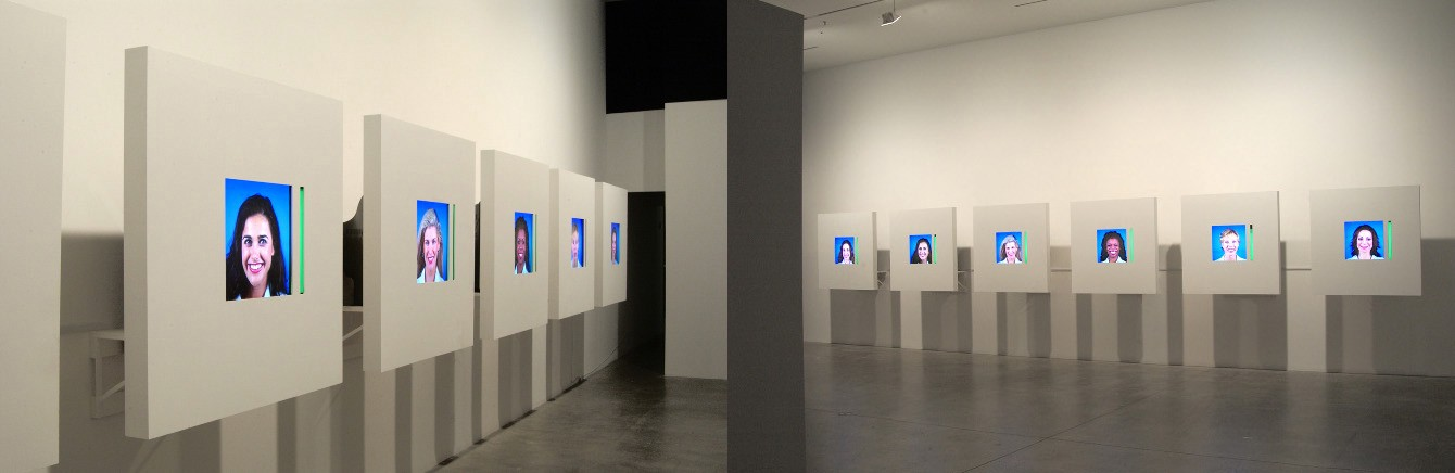 Row of screens in a gallery showing one woman per screen with a blue background and green status bar of varying height.