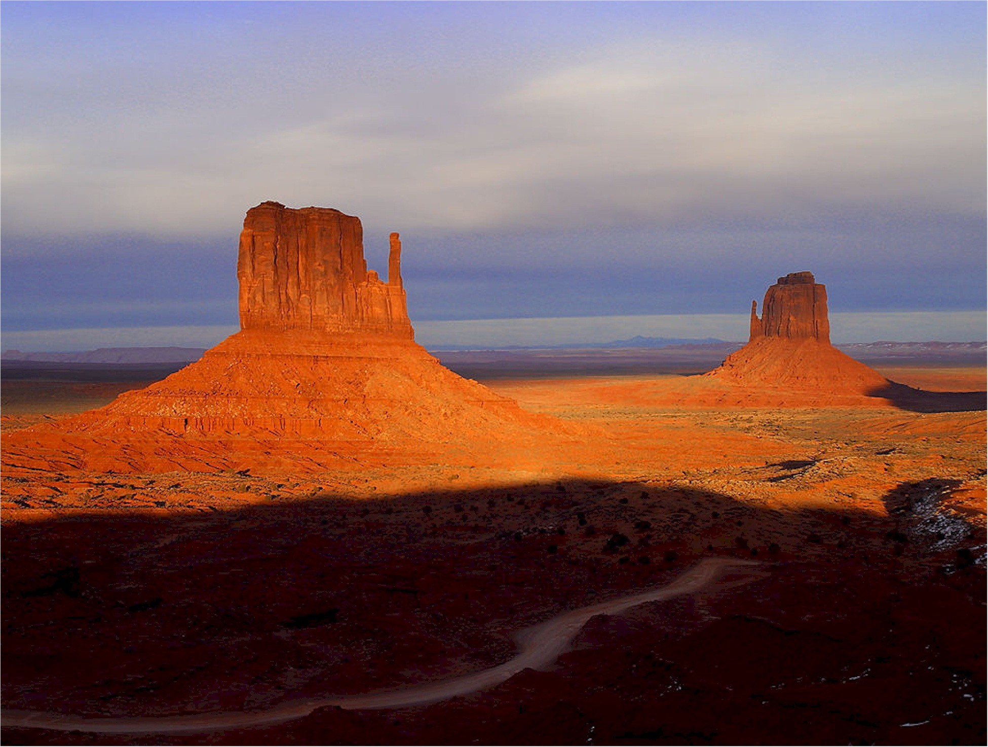 Three formations in Monument Valley Arizona