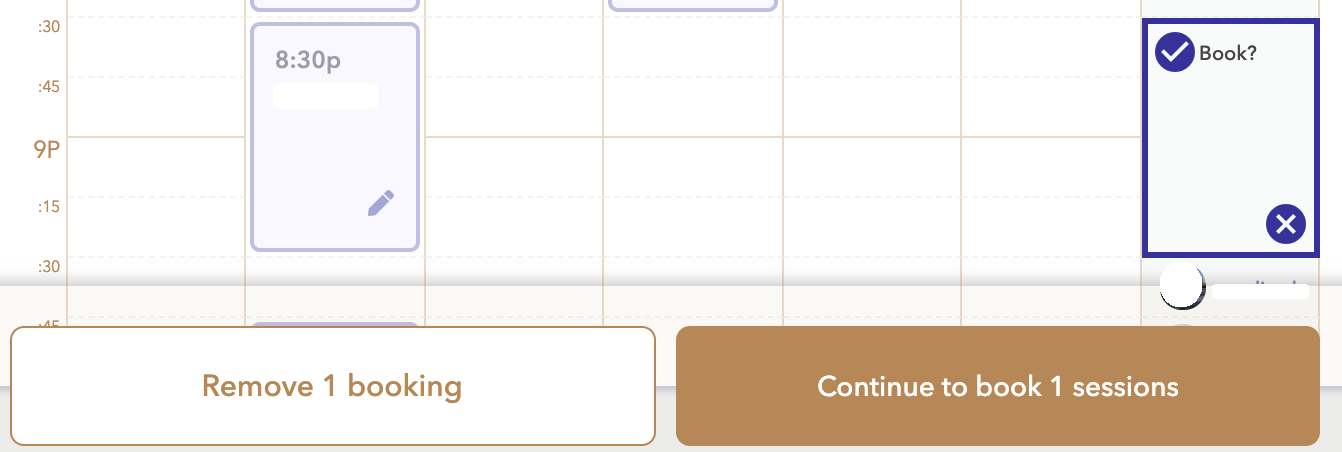 Focusmate calendar with a selected time slot, and two buttons, one with Remove booking, one with Continue to booking.