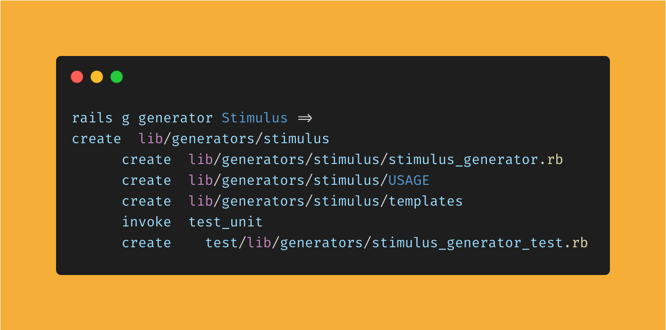 A screenshot showing the files created after running rails g generator stimulus in a terminal.