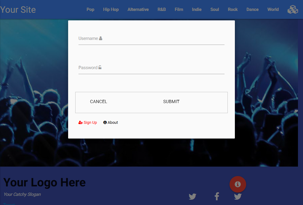 Materialize CSS landing page with Parallax, Tabbed