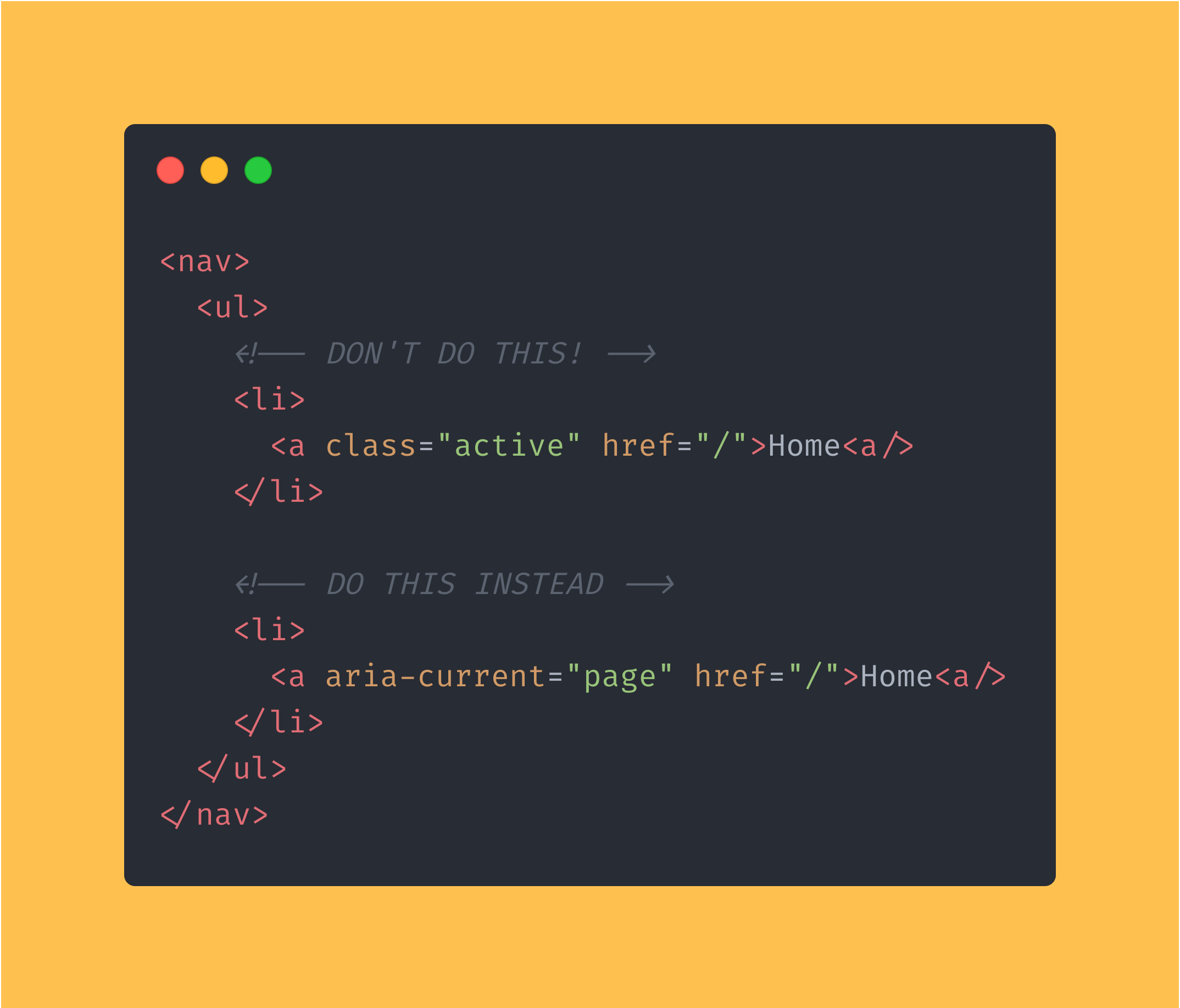 HTML code block showing how you can use the aria-current attribute to indicate the current page