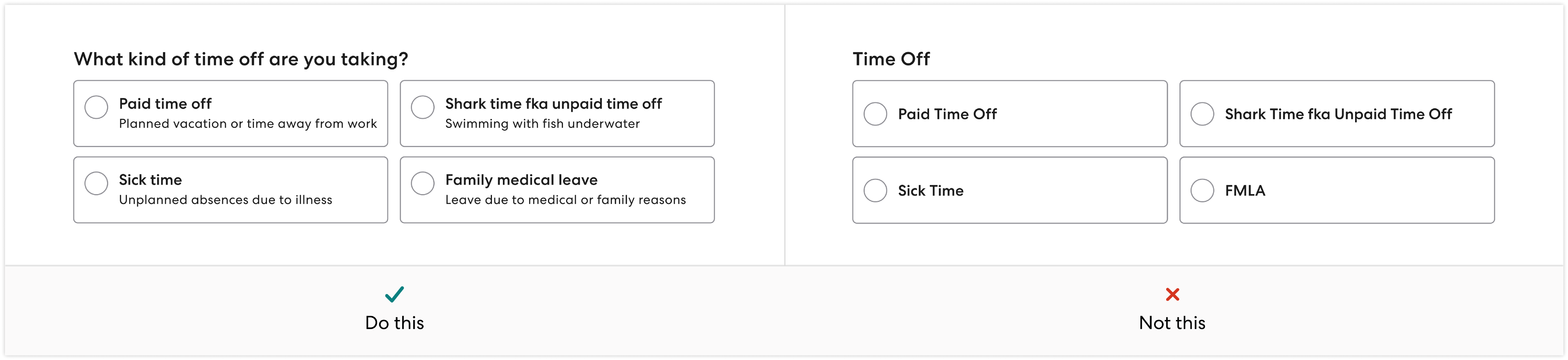 Radio button example constrasting complex and simple use of language.