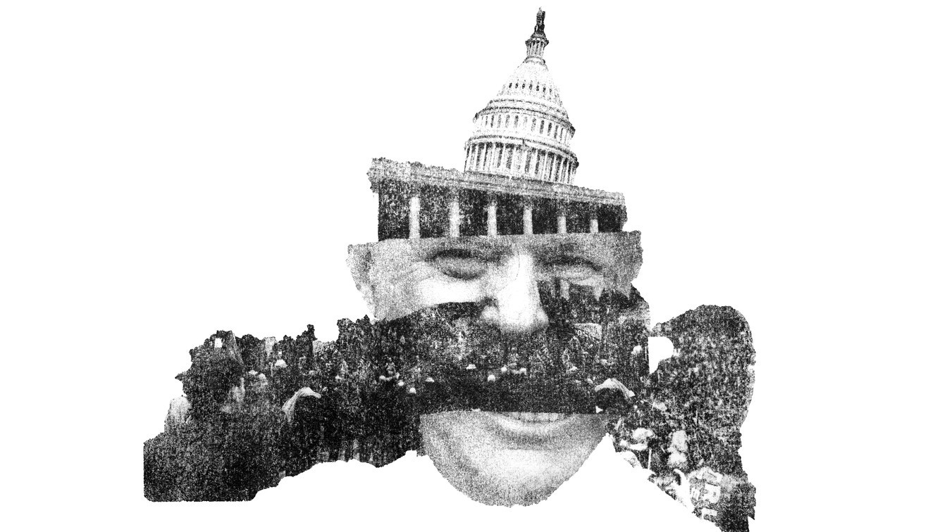 Collage interspersing the Capitol Building (with a crowd on its steps) with parts of Trump's head.