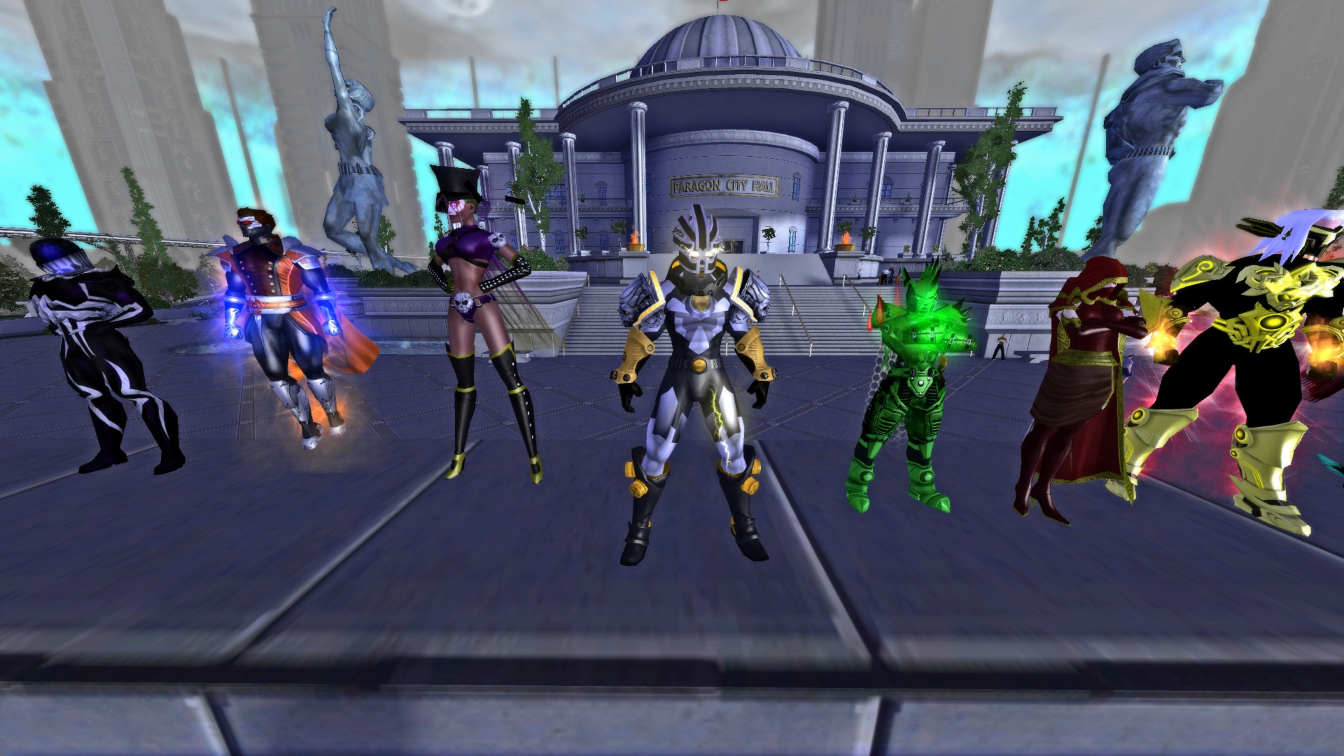 A costume contest featuring a row of lined-up heroes sporting their costumes and ready to be judged by fellow players.