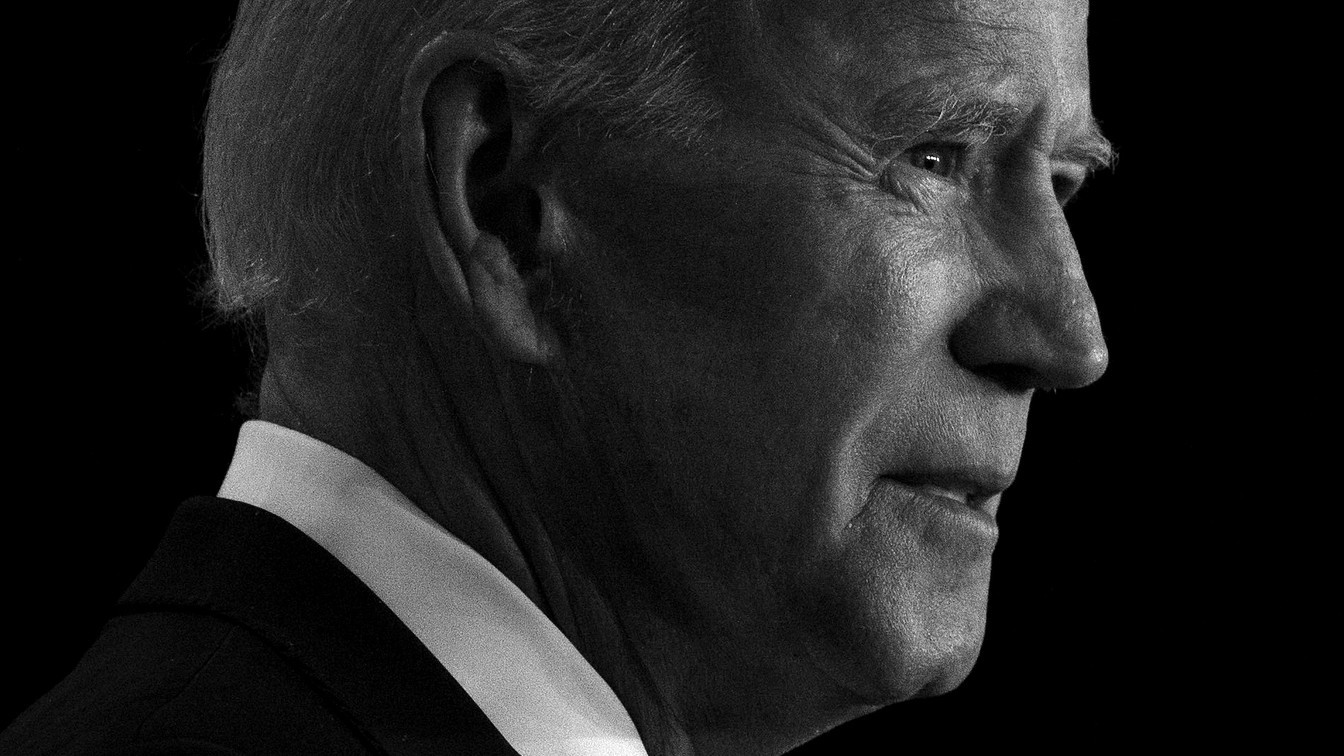 Black-and-white photo of Biden's face in three-quarter view.