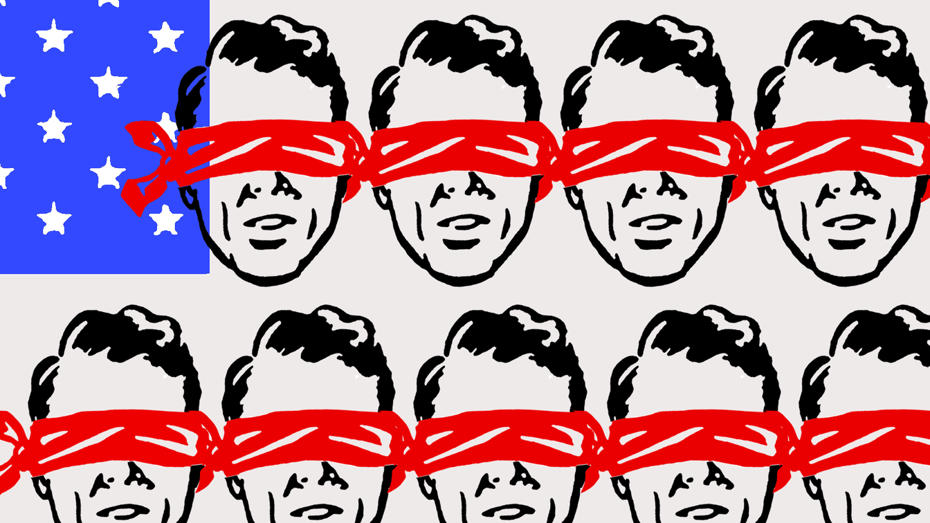 A blue rectangle with white stars with rows of people's heads wearing red blindfolds, visually referencing the US flag.