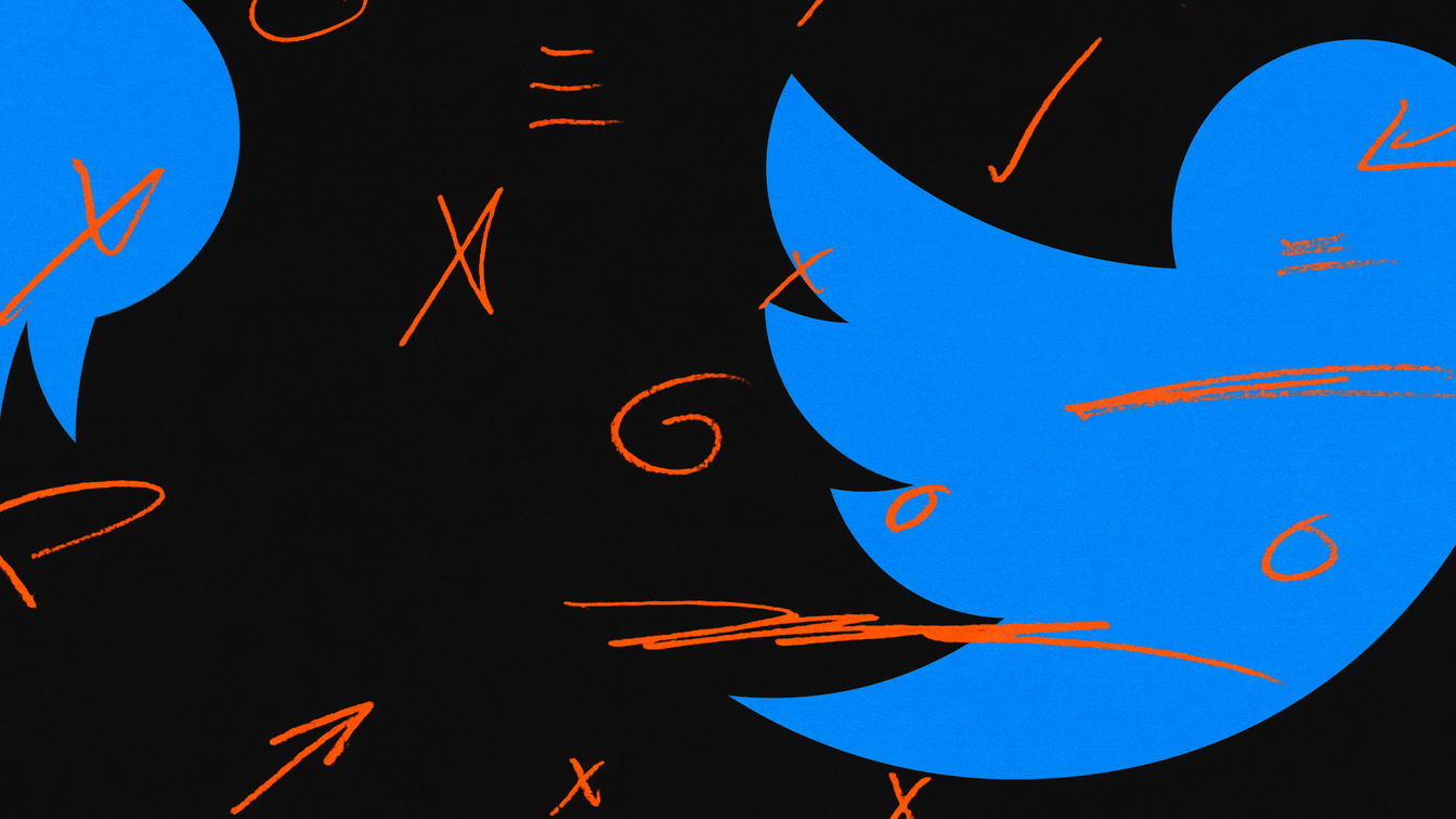 Slices of the blue Twitter bird logo on a black background. Red markings like arrows, X's, and lines have been drawn on top as if with a red pencil.