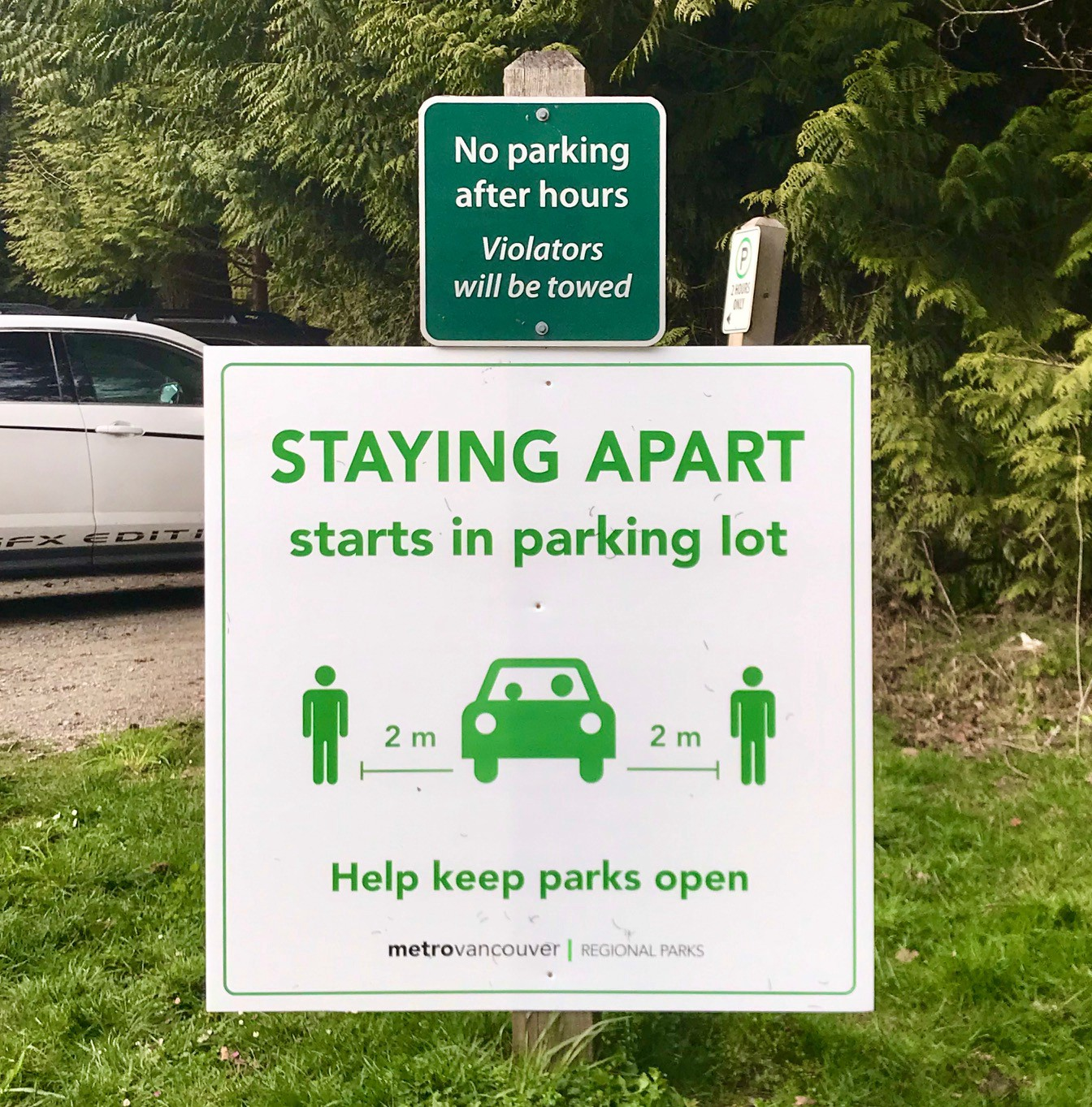 Park sign informing visitors what 2 metres of social distancing looks like with illustration of people and cars.