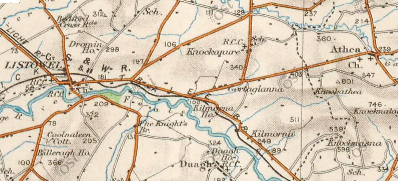 A detail from the Ordnance Survey of Ireland from 1842 showing the area around Listowel, Co. Kerry, and Athea, Co. Limerick.