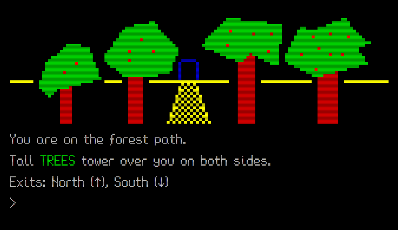 An image of a text adventure, showing a path through a forest leading to a cave opening