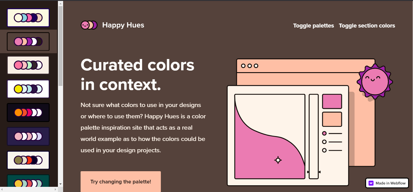 A screenshot of Happy Hues previewing color palettes