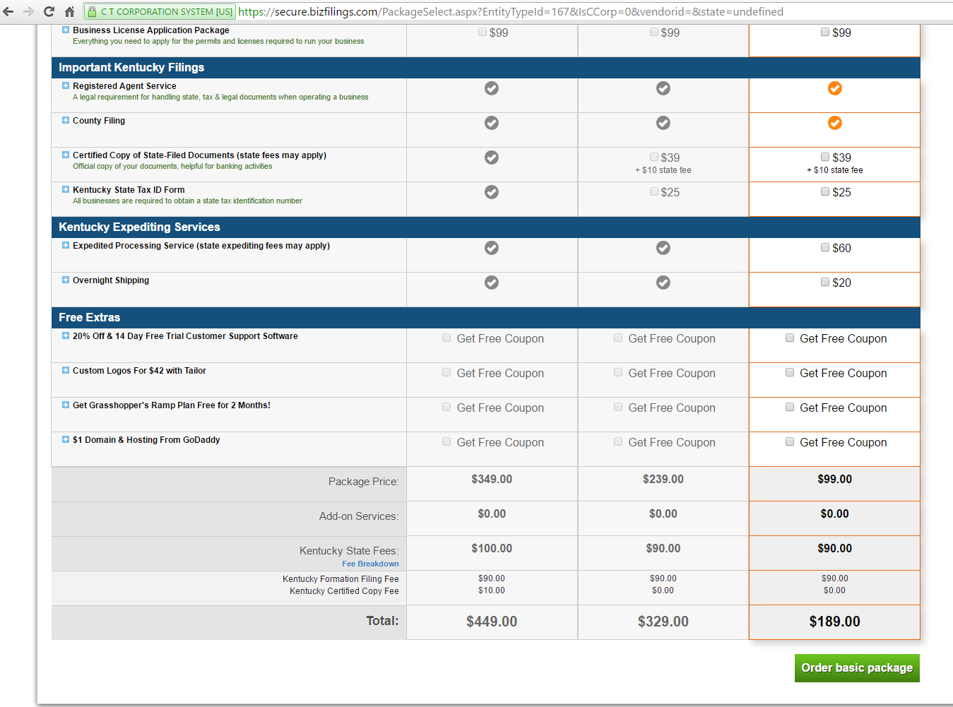 Bizfilings KY State Fee 90 Dollars - a full 125% higher charge!