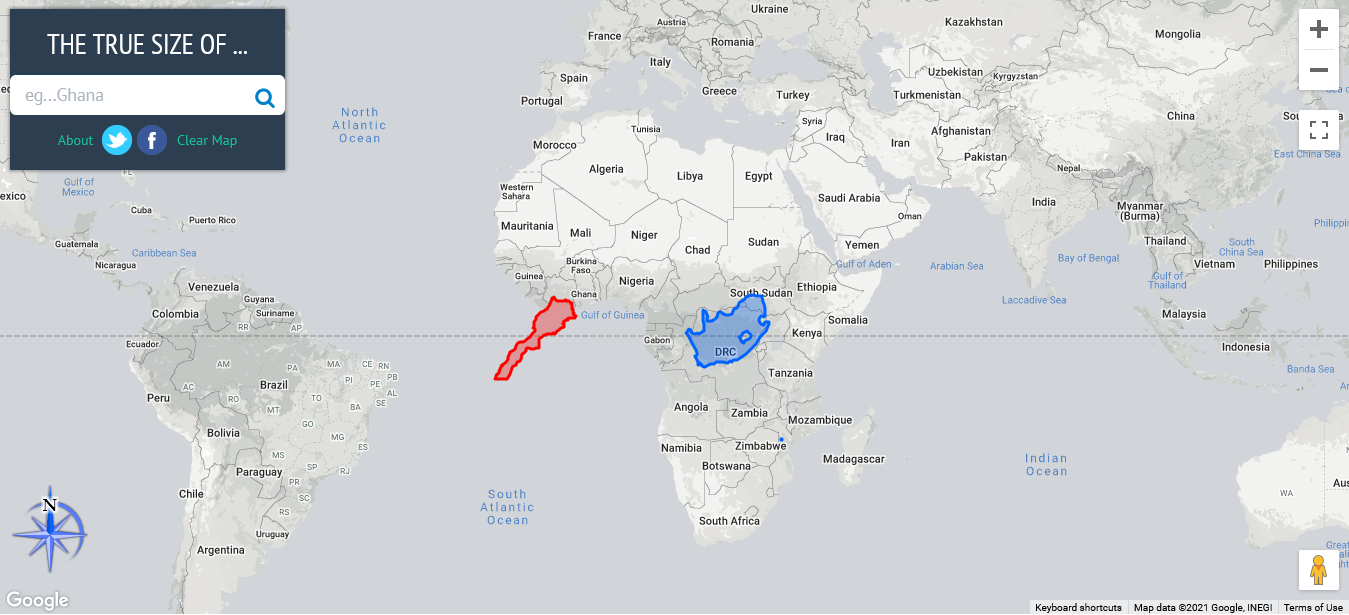A rectangular world map projection zoomed in on Africa. The equator is shown at the center of the image. A replica of Morocco and South Africa are superimposed on the equator, both having smaller size compared to on the map projection.