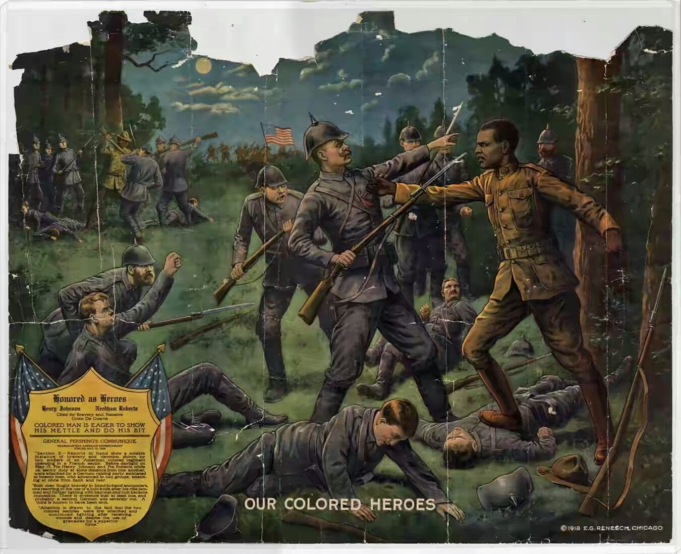 Our Colored Heroes (1918), by E.G. Renesch of Chicago, dramatized Johnson's actions in war.