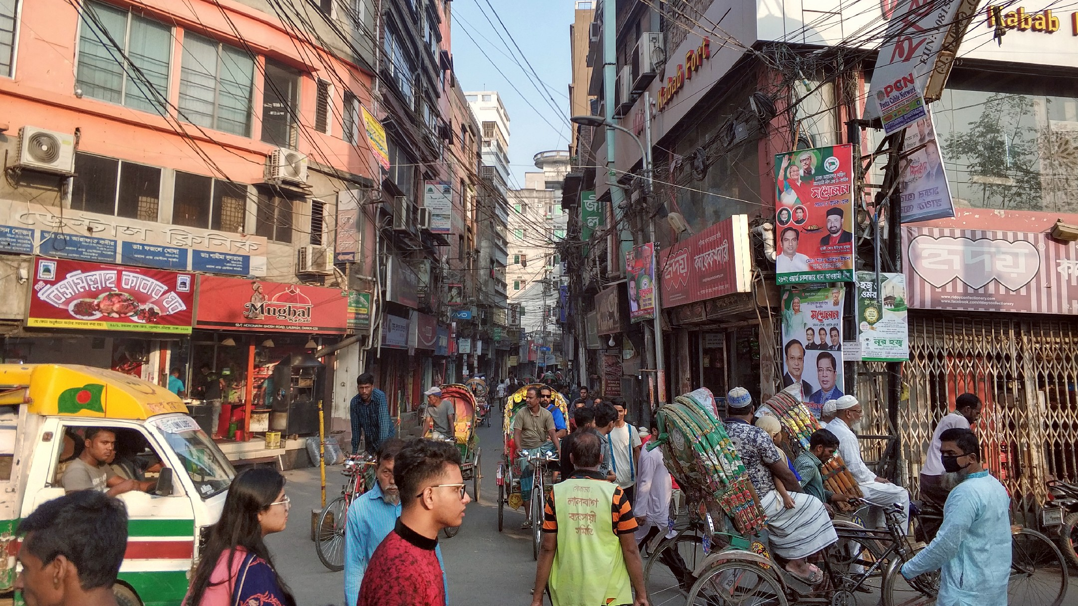 busy intersection in Old Town Dhaka