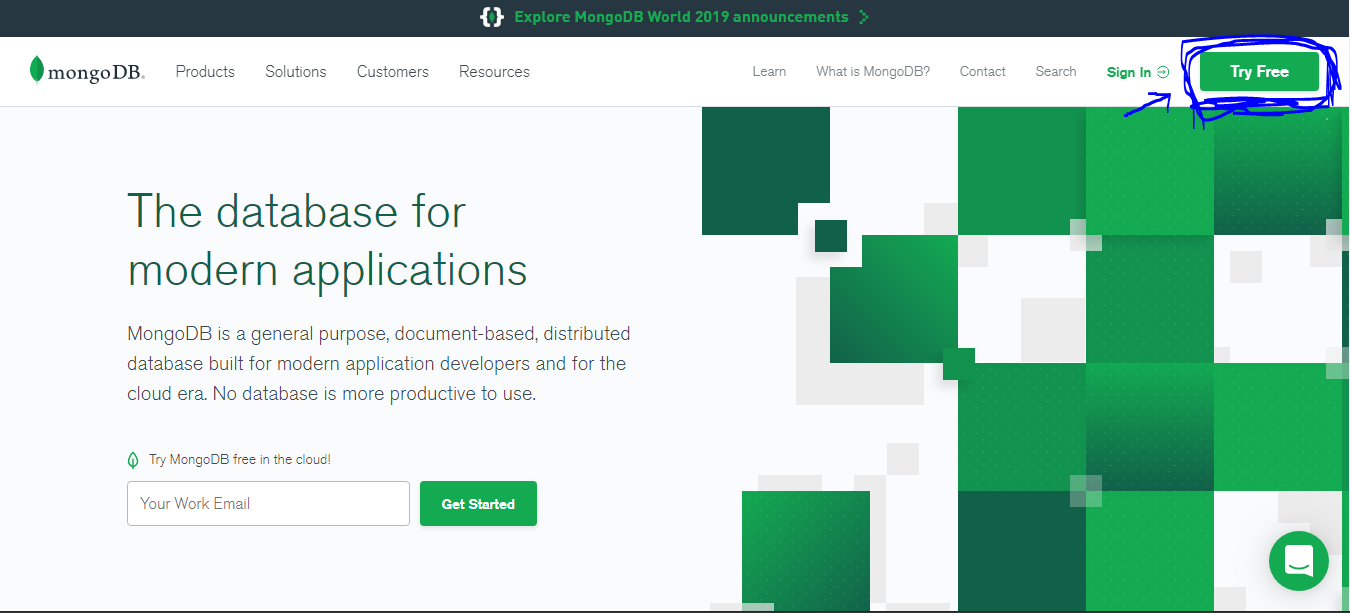the landing page on mongodb official site