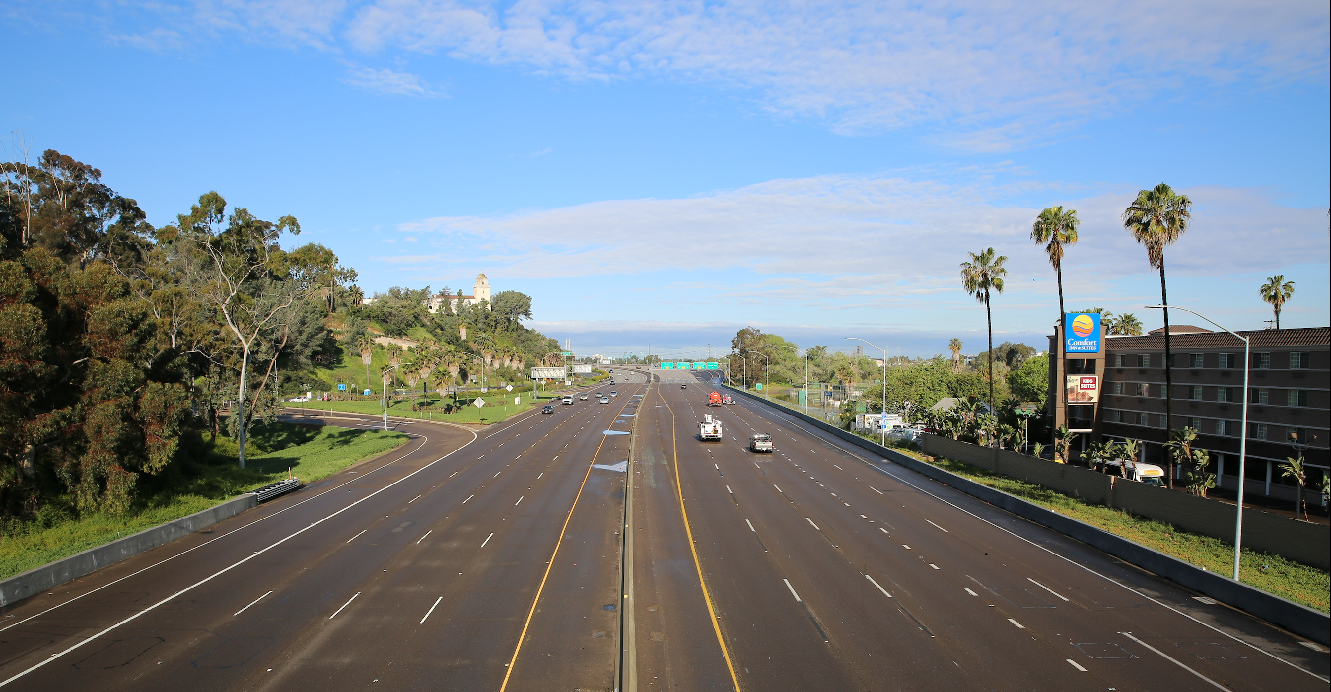 Light traffic in San Diego County, April 11, 2020 (Photo credit: Reuben Herzl)