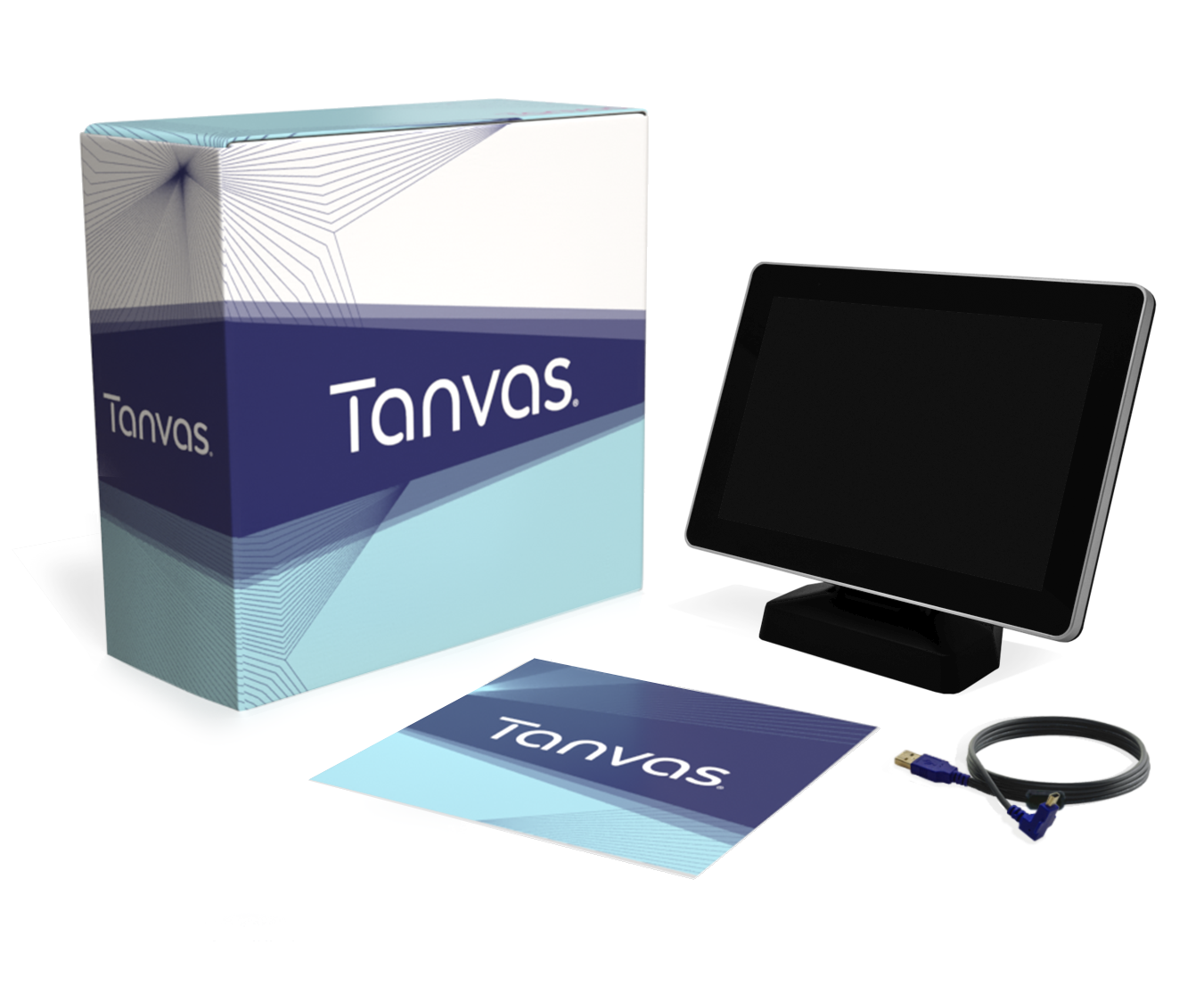 "Tanvas box with 10.1"" monitor, cleaning cloth and connector cord"