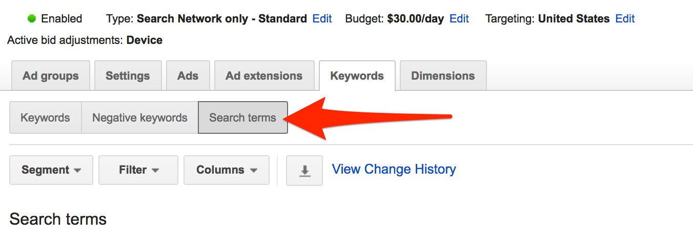 Adwords Keyword search terms