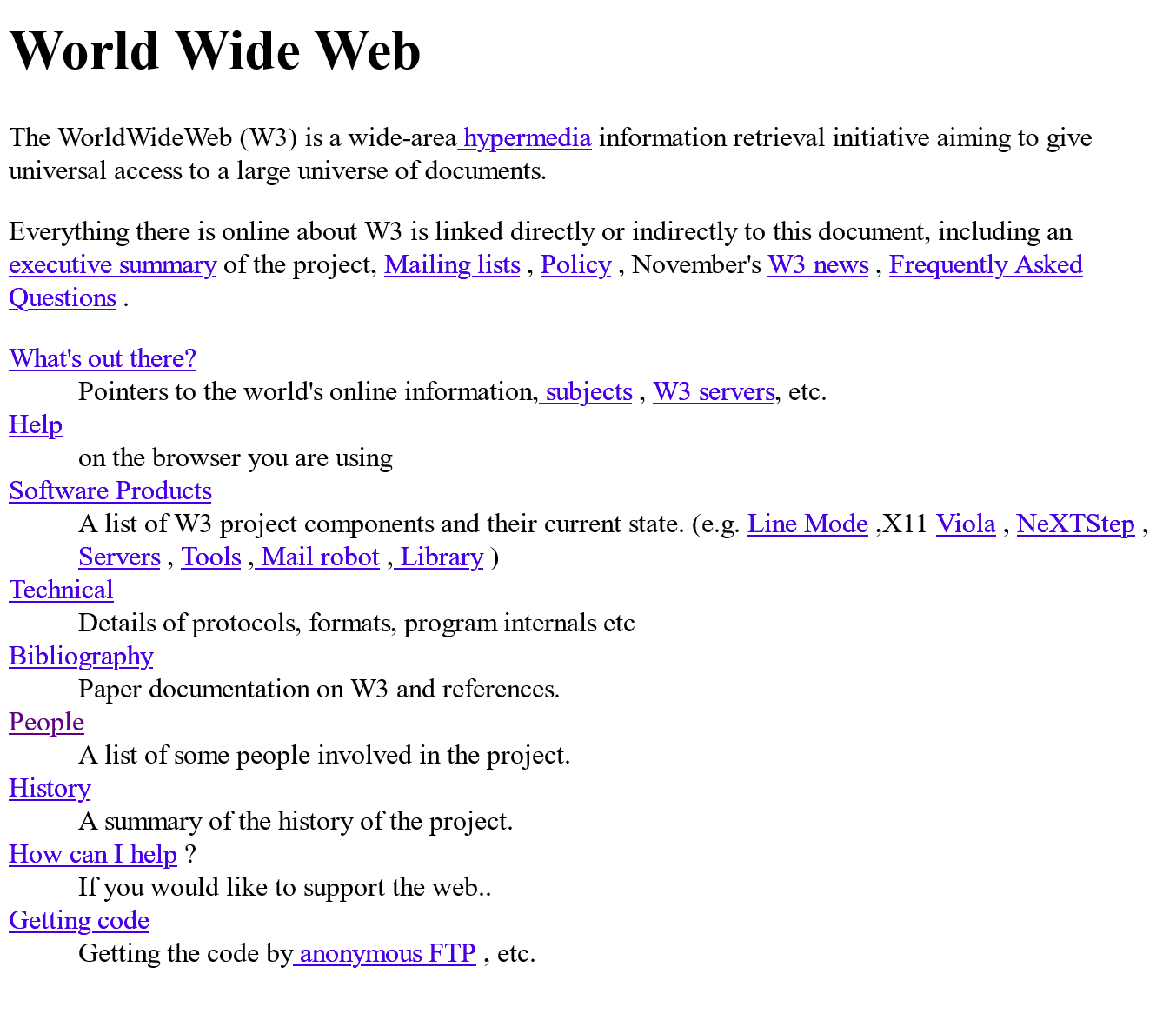 Image of the very first web page—http://info.cern.ch/hypertext/WWW/TheProject.html.