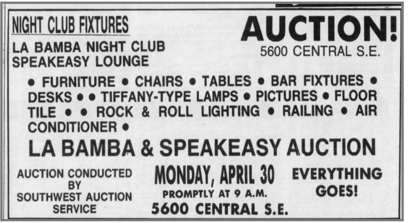 Auction ad from the April 27, 1990, Albuquerque Journal