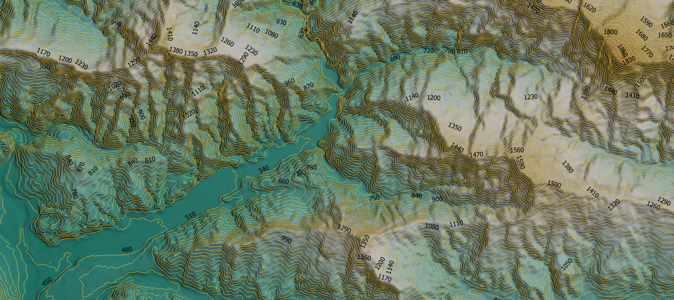Contour lines generated from 30 m ALOS PALSAR DEM (Jaxa, 2020) on Google Earth Engine and QGIS platform in a central area of NEPAL