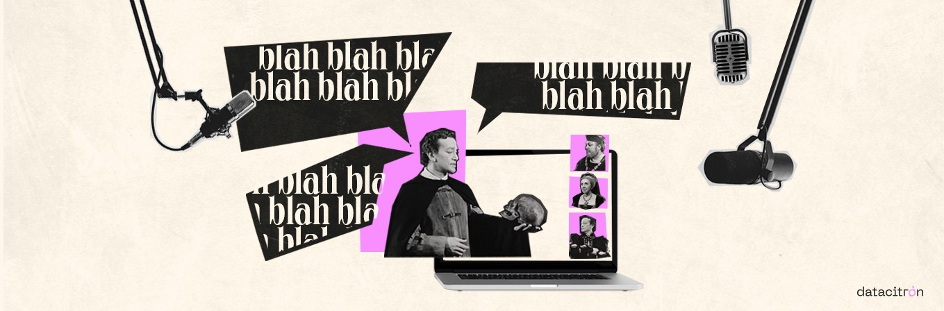 """Collage of a Hamlet actor, holding a skull, with several speech bubbles saying """"blah blah blah blah"""" and mics around him"""