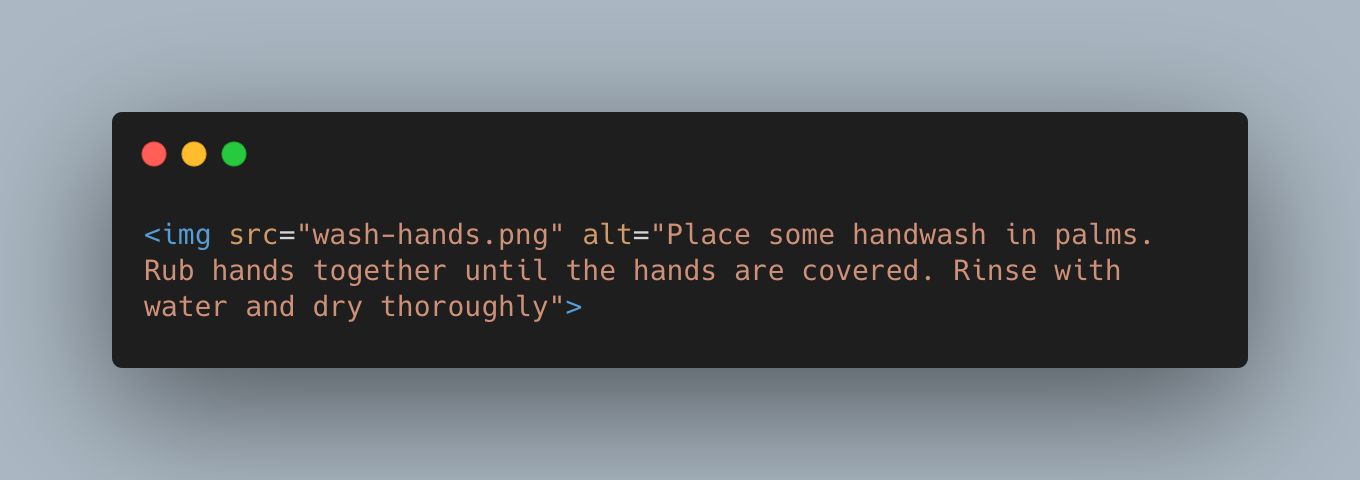 """An img tag with the alt attribute """"Place some handwash in palms. Rub hands together until the hands are covered. Rinse with water and dry thoroughly"""""""