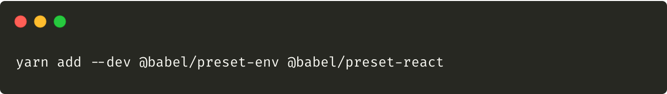 Command adding babel presets to the project.