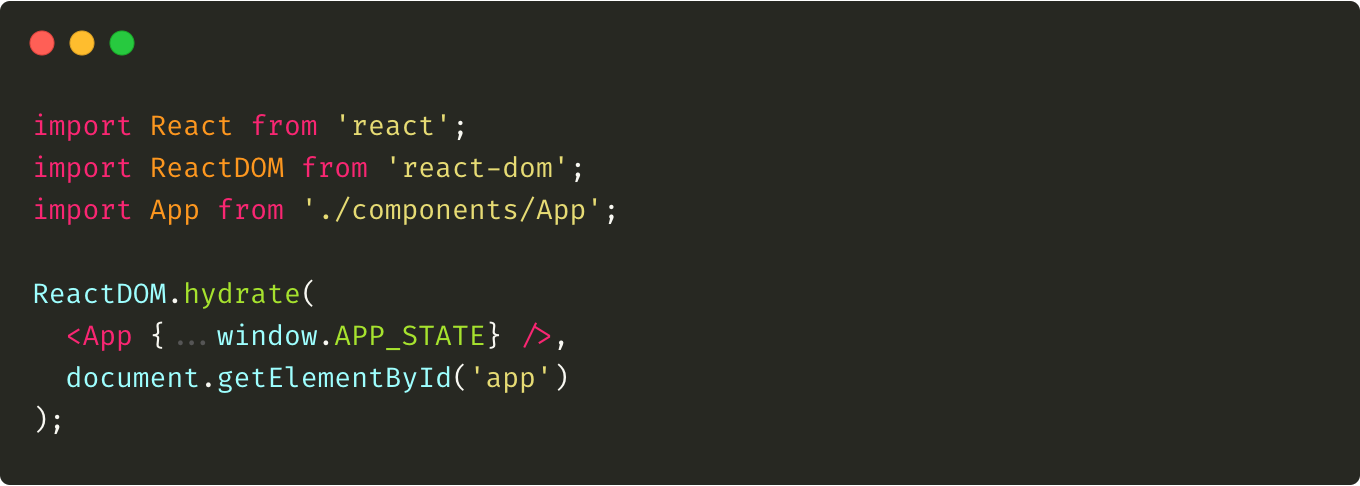 Modified client.js file that uses passed initial state and hydrates the app.